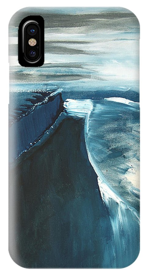 Abstract Acrylic Artist Blue Darkest Darkestartist January Painting Water Ice IPhone X Case featuring the painting January by Darkest Artist