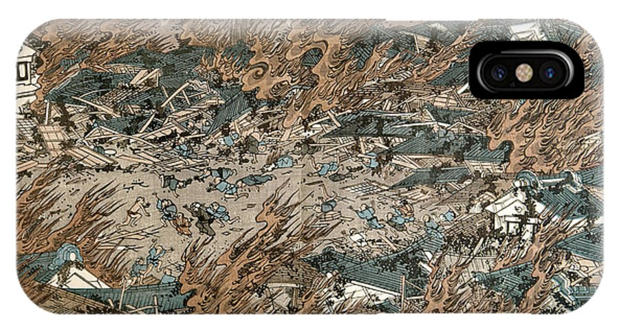 1855 IPhone X Case featuring the photograph Japan: Earthquake, 1855 by Granger