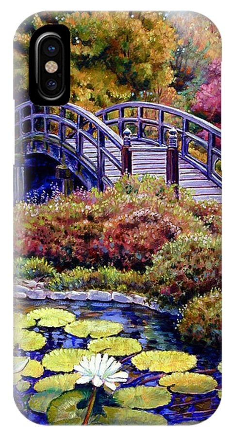 Japanese Bridge IPhone Case featuring the painting Japanese Bridge by John Lautermilch