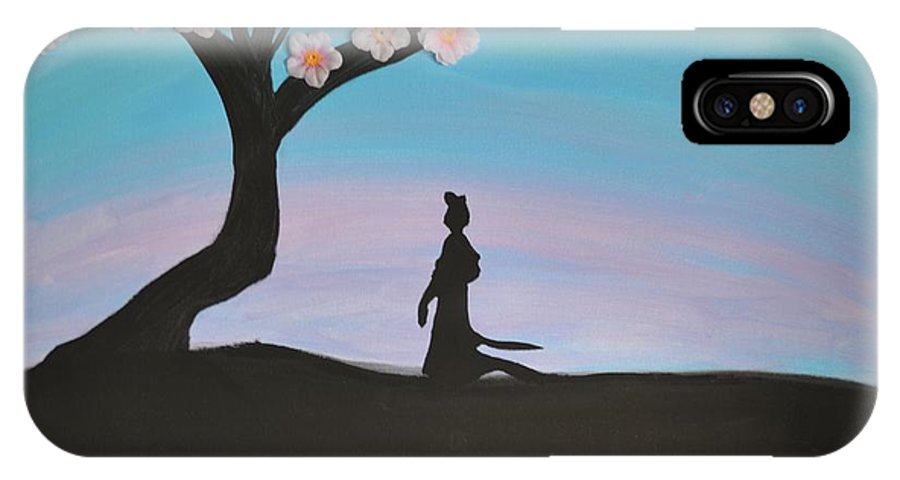 Mulan IPhone X Case featuring the painting Japanese Cherry Blossom by Morgan McLaren