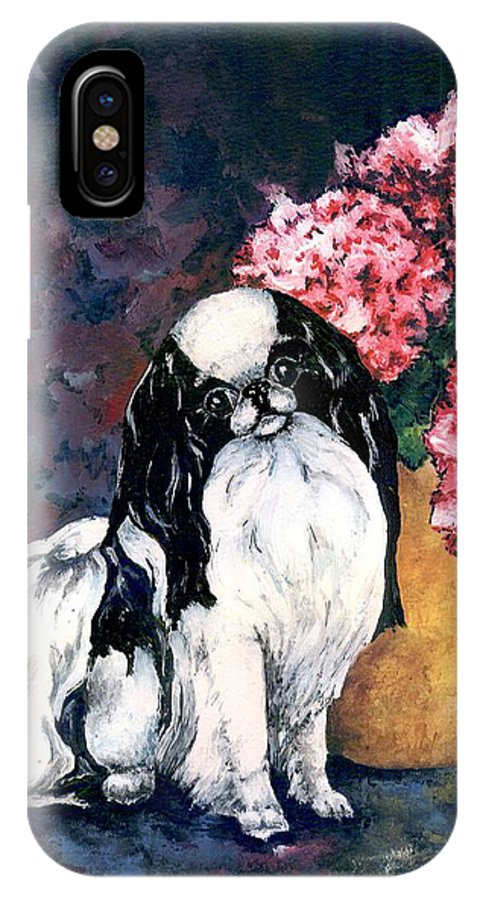 Japanese Chin IPhone Case featuring the painting Japanese Chin And Hydrangeas by Kathleen Sepulveda