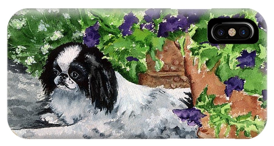 Japanese Chin IPhone X / XS Case featuring the painting Japanese Chin Puppy And Petunias by Kathleen Sepulveda