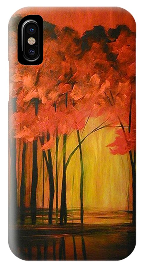 Abstract IPhone X Case featuring the painting Japanese Forest by Sabina Surya Naya
