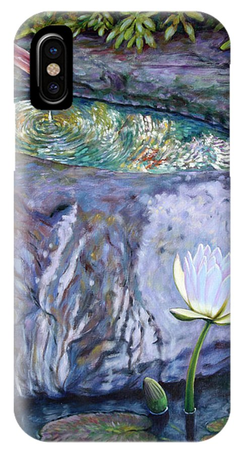 Garden IPhone X Case featuring the painting Japanese Fountain With Lily by John Lautermilch