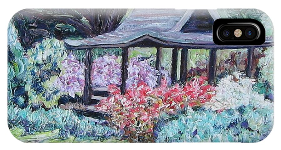 Garden IPhone X / XS Case featuring the painting Japanese Garden by Richard Nowak