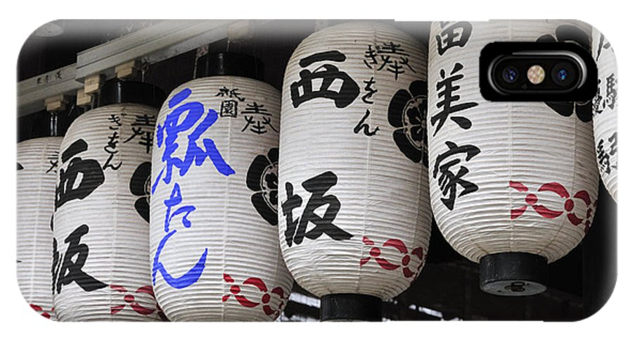 Japanese Lanterns IPhone X Case featuring the photograph Japanese Lanterns Black And Blue Script On Paper Lanterns by Andy Smy