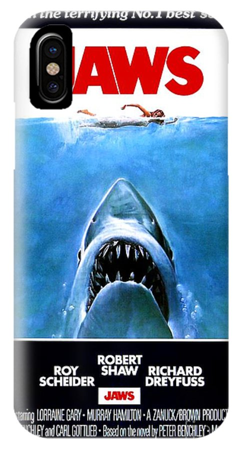 Jaws IPhone X Case featuring the photograph Jaws Movie Poster - 1975 by The Titanic Project