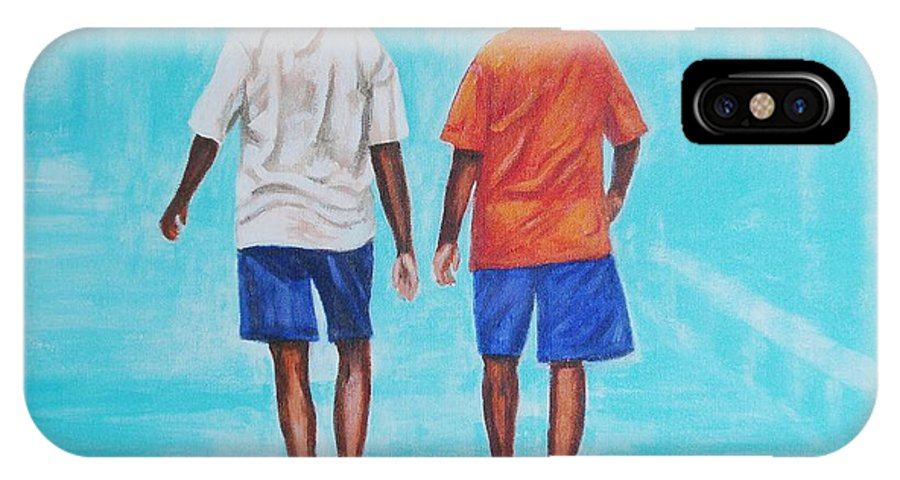 IPhone X Case featuring the painting Jay Walkers by Usha Shantharam