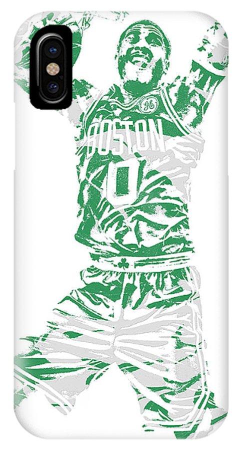 Jayson Tatum IPhone X Case featuring the mixed media Jayson Tatum Boston Celtics Pixel Art 11 by Joe Hamilton