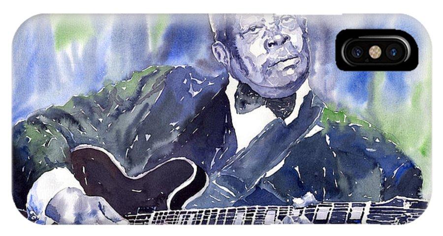 Jazz Bbking Music Watercolor Watercolour Guitarist Portret IPhone Case featuring the painting Jazz B B King 01 by Yuriy Shevchuk