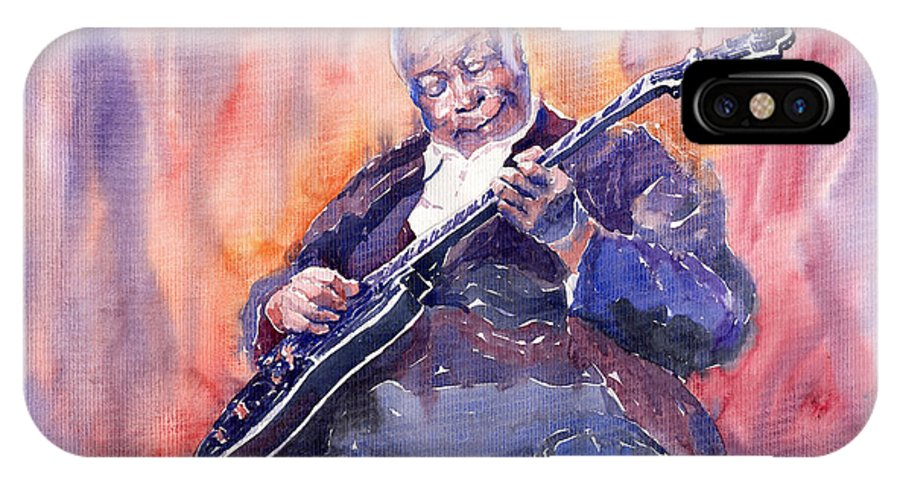 Jazz IPhone X Case featuring the painting Jazz B.b. King 03 by Yuriy Shevchuk
