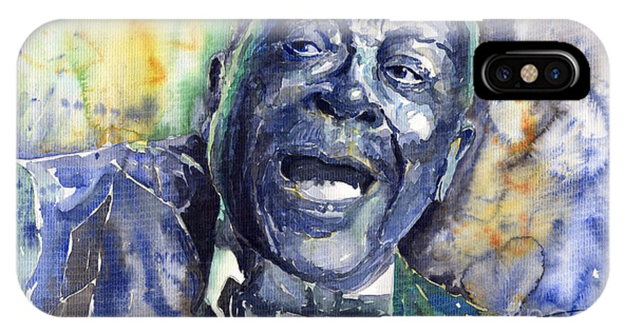 Jazz IPhone X Case featuring the painting Jazz B.B.King 04 Blue by Yuriy Shevchuk