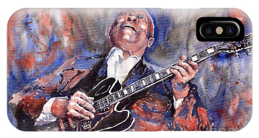 Jazz IPhone Case featuring the painting Jazz B B King 05 Red A by Yuriy Shevchuk