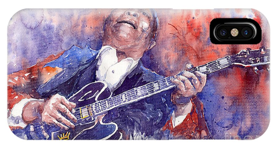 Jazz IPhone X Case featuring the painting Jazz B B King 05 Red by Yuriy Shevchuk