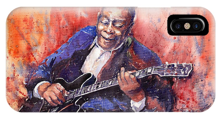 Jazz IPhone X Case featuring the painting Jazz B B King 06 A by Yuriy Shevchuk