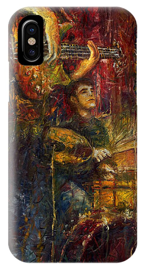 Jazz IPhone X Case featuring the painting Jazz Bass Guitarist by Yuriy Shevchuk