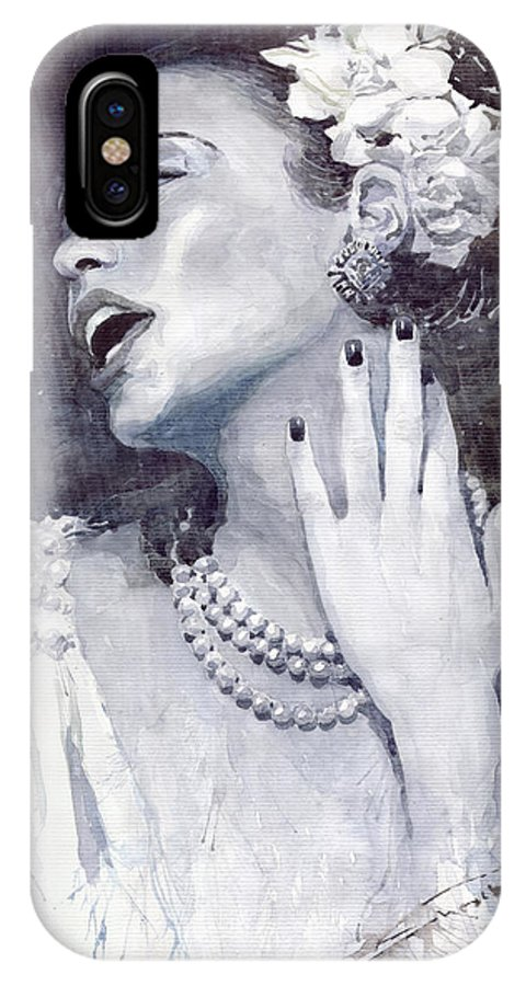 Billie Holiday IPhone X Case featuring the painting Jazz Billie Holiday by Yuriy Shevchuk