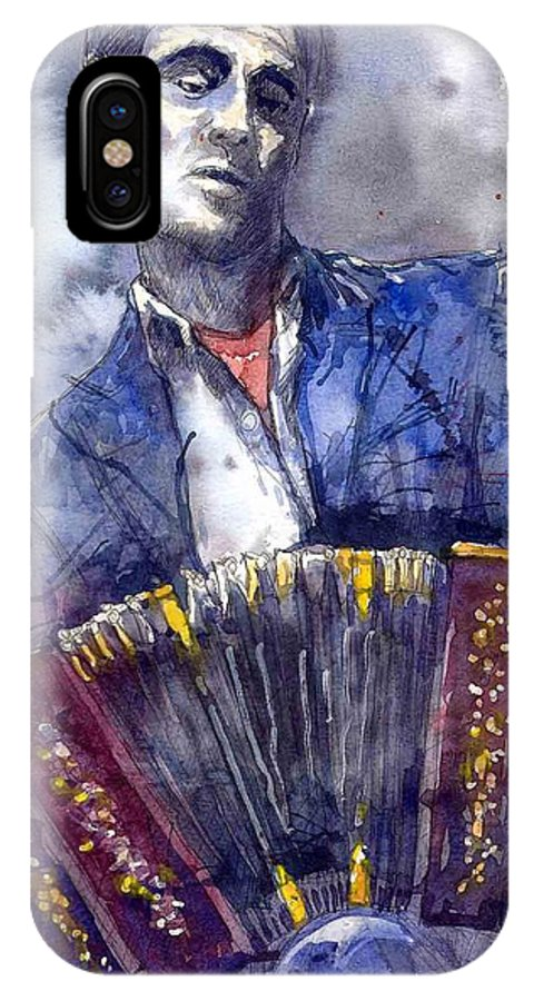 Jazz IPhone X / XS Case featuring the painting Jazz Concertina Player by Yuriy Shevchuk