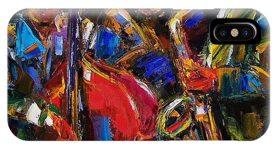 Jazz IPhone X Case featuring the painting Jazz by Debra Hurd