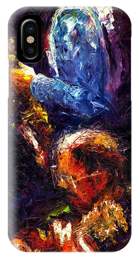 Jazz IPhone X Case featuring the painting Jazz Duet by Yuriy Shevchuk