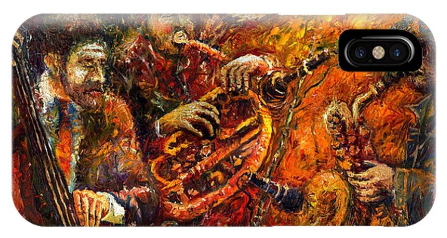 Jazz IPhone Case featuring the painting Jazz Gold Jazz by Yuriy Shevchuk