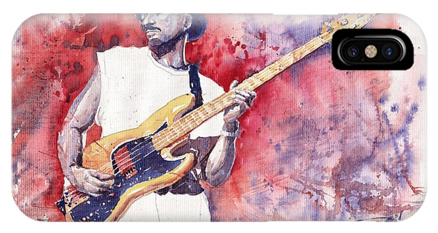 Jazz IPhone X Case featuring the painting Jazz Guitarist Marcus Miller Red by Yuriy Shevchuk