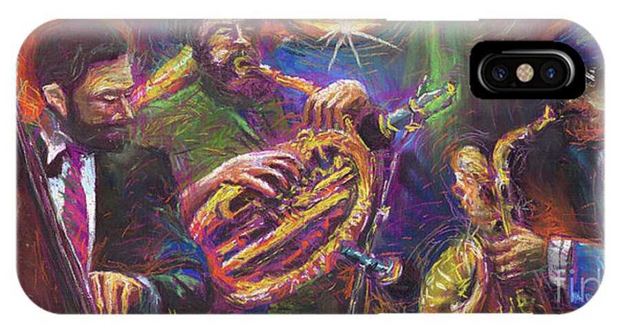 Jazz IPhone X Case featuring the painting Jazz Jazzband Trio by Yuriy Shevchuk