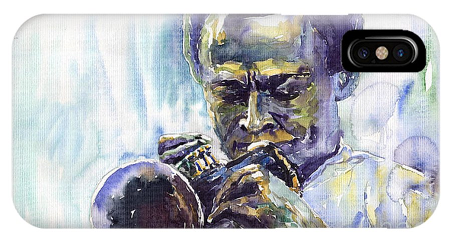 Jazz Miles Davis Music Musiciant Trumpeter Portret IPhone Case featuring the painting Jazz Miles Davis 10 by Yuriy Shevchuk
