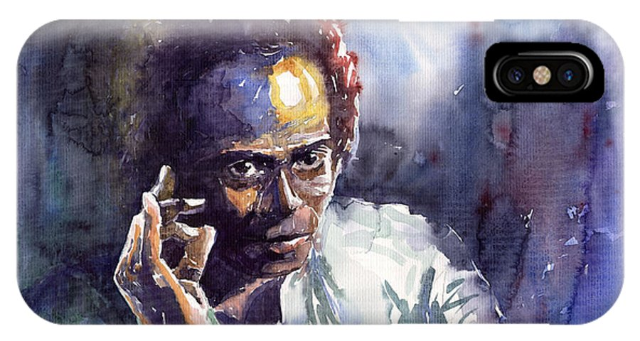 Jazz Watercolor Watercolour Miles Davis Portret IPhone X Case featuring the painting Jazz Miles Davis 11 by Yuriy Shevchuk