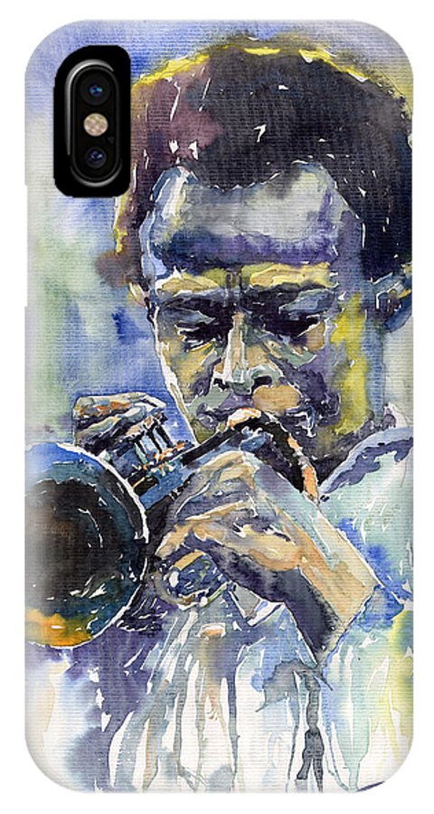 Jazz IPhone X Case featuring the painting Jazz Miles Davis 12 by Yuriy Shevchuk
