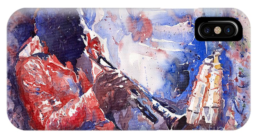 Jazz IPhone X Case featuring the painting Jazz Miles Davis 15 by Yuriy Shevchuk