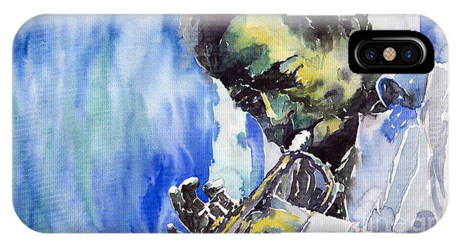 IPhone X Case featuring the painting Jazz Miles Davis 5 by Yuriy Shevchuk