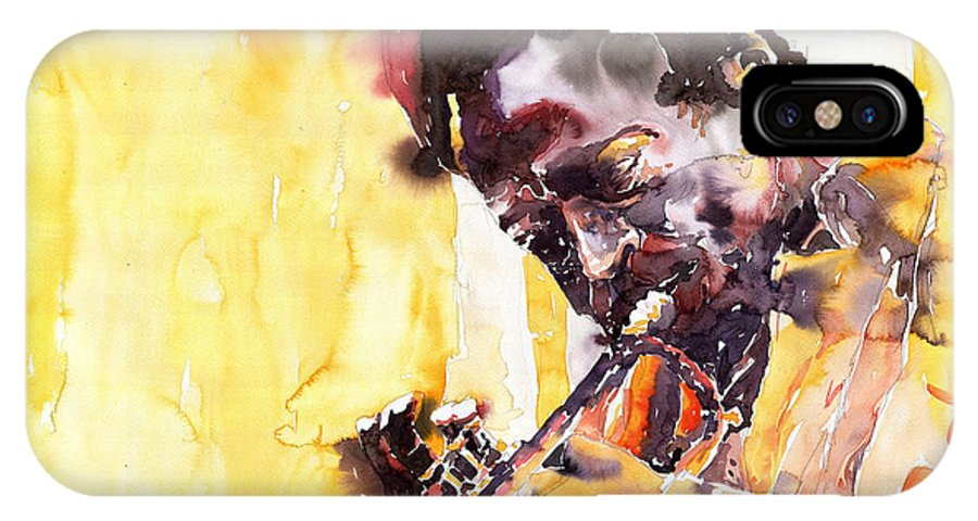 Jazz Music Watercolor Watercolour Miles Davis Trumpeter Portret IPhone Case featuring the painting Jazz Miles Davis 6 by Yuriy Shevchuk