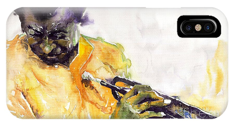 Davis Figurativ Jazz Miles Music Portret Trumpeter Watercolor Watercolour IPhone Case featuring the painting Jazz Miles Davis 7 by Yuriy Shevchuk