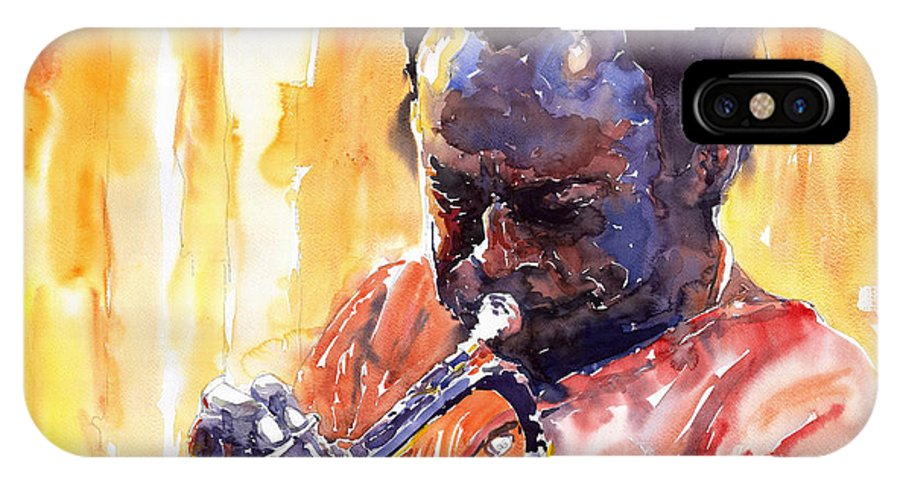 Jazz Miles Davis Music Watercolor Watercolour Figurativ Portret Trumpeter IPhone Case featuring the painting Jazz Miles Davis 8 by Yuriy Shevchuk