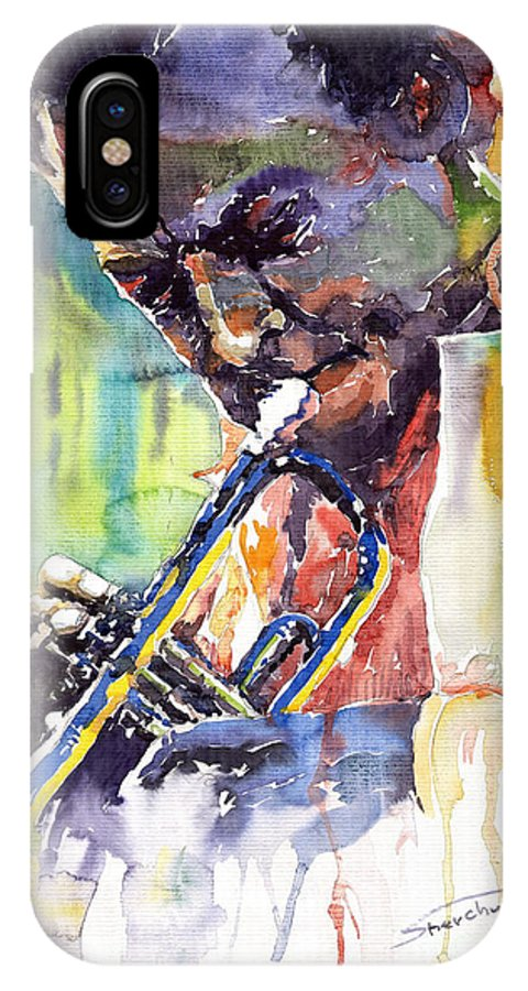 Jazz Miles Davis Music Musiciant Trumpeter Portret IPhone X Case featuring the painting Jazz Miles Davis 9 Blue by Yuriy Shevchuk