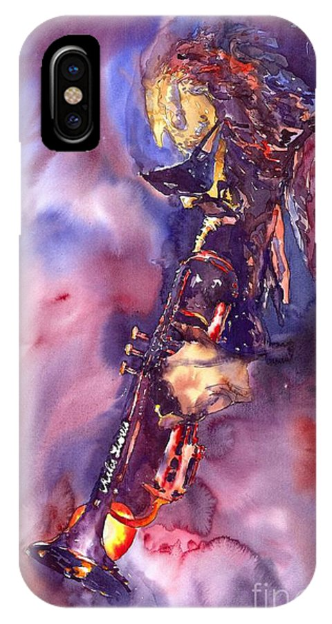 Davis Figurative Jazz Miles Music Musiciant Trumpeter Watercolor Watercolour IPhone X Case featuring the painting Jazz Miles Davis Electric 3 by Yuriy Shevchuk