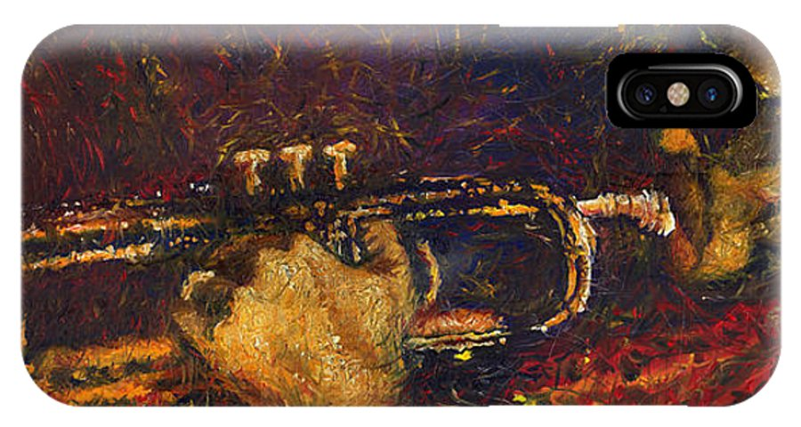 Jazz IPhone X Case featuring the painting Jazz Miles Davis by Yuriy Shevchuk