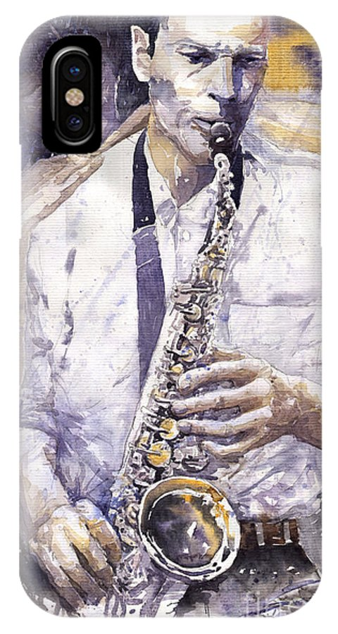 Jazz IPhone X Case featuring the painting Jazz Muza Saxophon by Yuriy Shevchuk