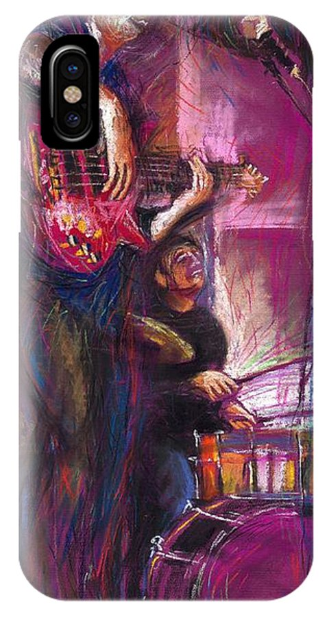 Jazz IPhone X Case featuring the painting Jazz Purple Duet by Yuriy Shevchuk