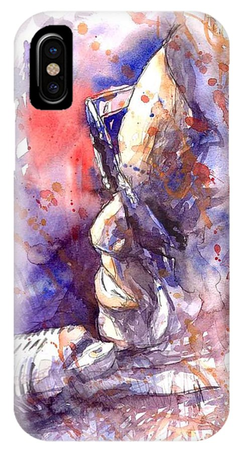 Portret IPhone X Case featuring the painting Jazz Ray Charles by Yuriy Shevchuk