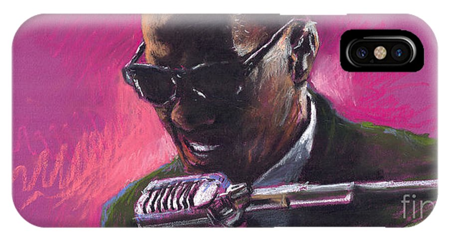 Jazz IPhone X Case featuring the painting Jazz. Ray Charles.1. by Yuriy Shevchuk