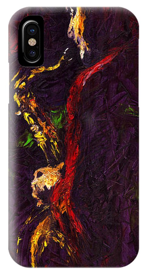 Jazz IPhone X Case featuring the painting Jazz Red Saxophonist by Yuriy Shevchuk