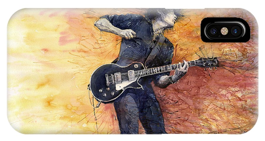 Figurativ IPhone X Case featuring the painting Jazz Rock Guitarist Stone Temple Pilots by Yuriy Shevchuk