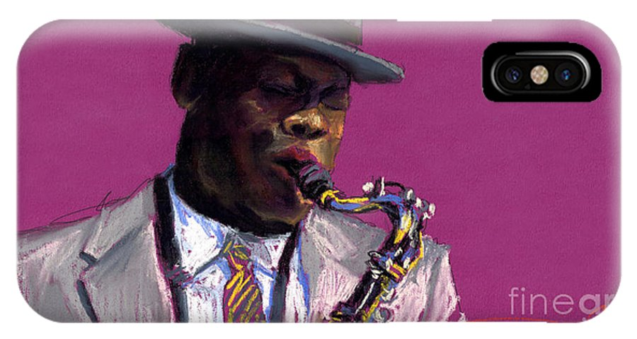 Jazz IPhone X Case featuring the painting Jazz Saxophonist by Yuriy Shevchuk