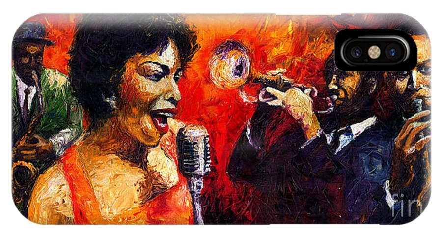 Jazz.song.trumpeter IPhone X Case featuring the painting Jazz Song by Yuriy Shevchuk