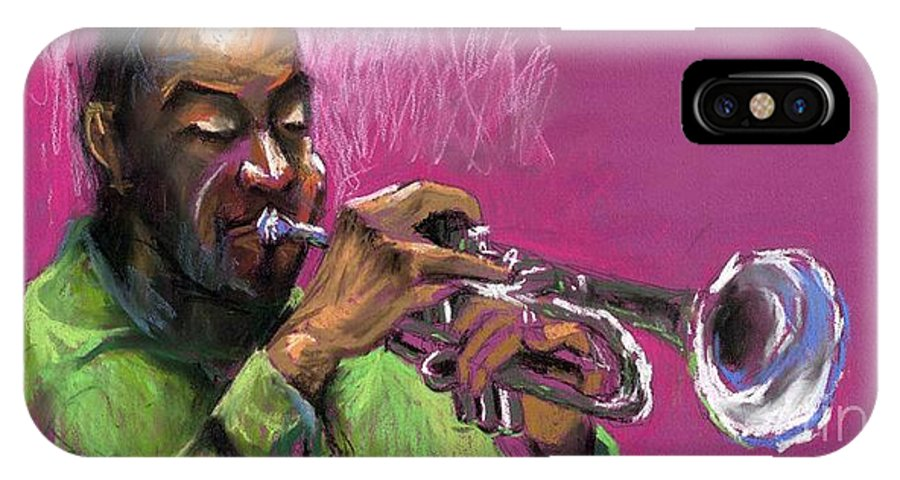 Jazz IPhone X Case featuring the painting Jazz Trumpeter by Yuriy Shevchuk