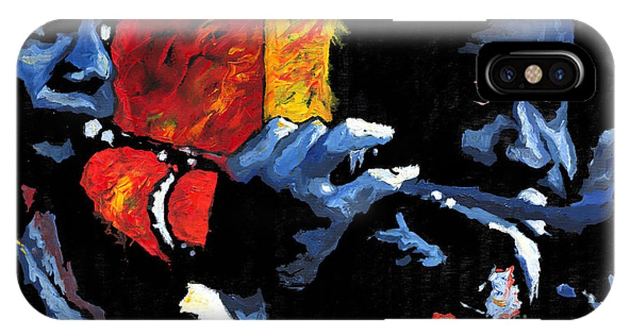 Jazz IPhone X Case featuring the painting Jazz Trumpeters by Yuriy Shevchuk