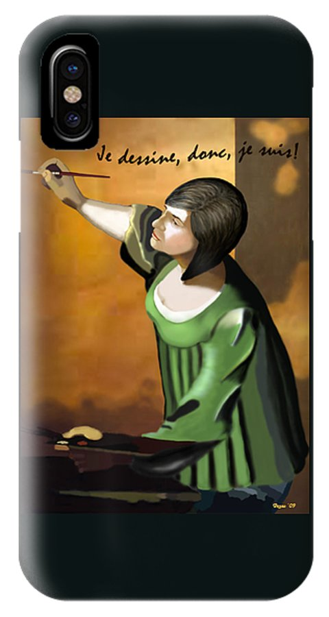 Illustration IPhone X Case featuring the digital art Je Dessine Donc Je Suis by Lois Boyce