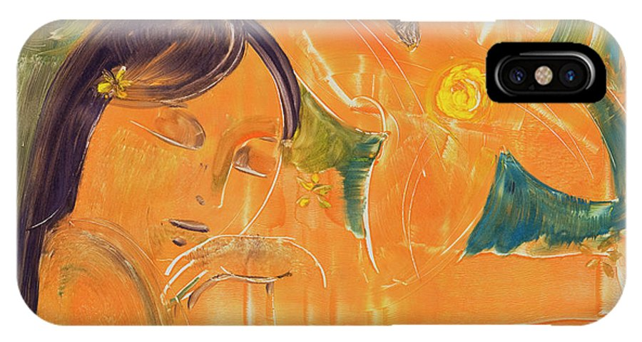 South Pacific IPhone X Case featuring the painting Je Revien Tahiti by Laura Lee Cundiff
